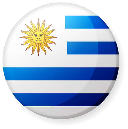 Circular country flag icon (button badge ) / Uruguay