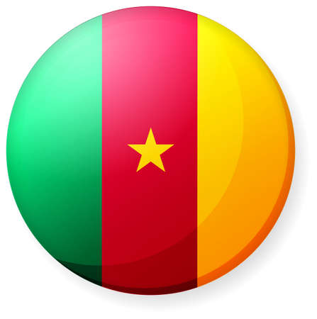 Circular country flag icon (button badge ) / Cameroon