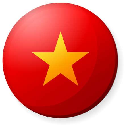 Circular country flag icon (button badge ) / Vietnam