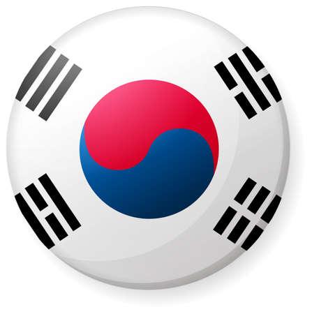 Kreisförmiges Länderflaggensymbol (Knopfabzeichen) / Südkorea Vektorgrafik