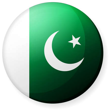 Circular country flag icon (button badge ) / Pakistan  イラスト・ベクター素材