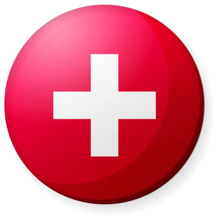 Circular country flag icon (button badge ) / Switzerland