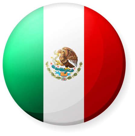 Okrągła ikona flagi kraju (znaczek przycisku) / Meksyk