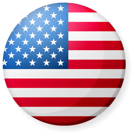 Circular country flag icon ( button badge ) / USA, America, stars and stripes.