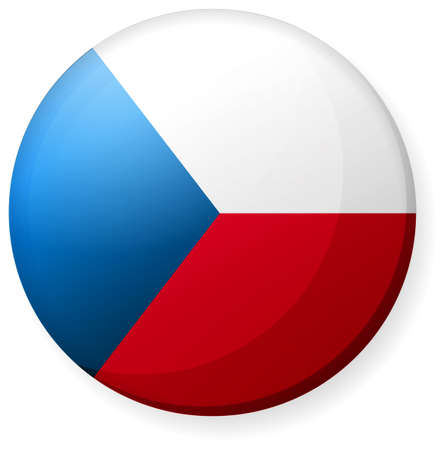 Circular country flag icon (button badge ) / republic Czech  イラスト・ベクター素材