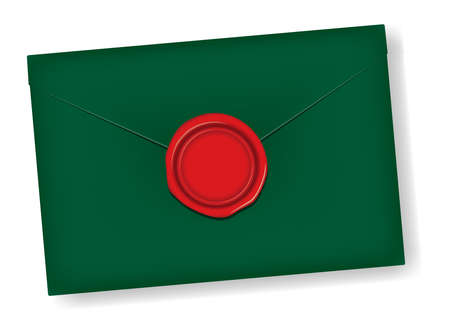 Letter and sealing wax vector illustration / Design space in the center of the wax (christmas color)