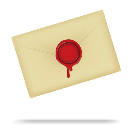 Letter and Sealing Wax (dripping) vector illustration / Design space in the center of the wax (red) Vettoriali