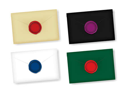Letter and sealing wax vector illustration set / Design space in the center of the wax Vettoriali