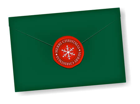 Letter and Sealing Wax (snowflake mark) vector illustration / christmas color