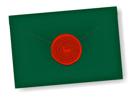 Letter and Sealing Wax (reindeer mark) vector illustration / christmas color