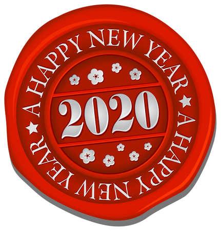2020 sealing wax vector illustration / a happy new year Vetores