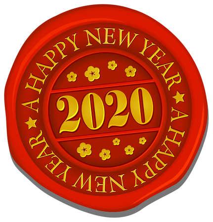 2020 sealing wax vector illustration / a happy new year