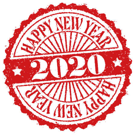 2020 Happy New Year / Rubber Stamp Vector Illustration for New Year Greeting Card etc.