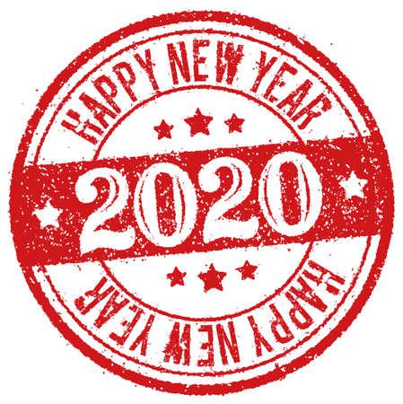 2020 feliz año nuevo / sello de goma ilustración vectorial para tarjeta de felicitación de año nuevo, etc.