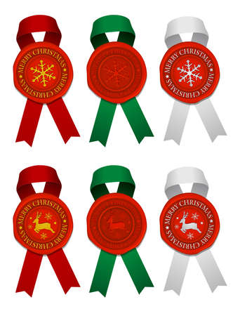 Sealing wax & ribbon for christmas decoration vector illustration set Vettoriali