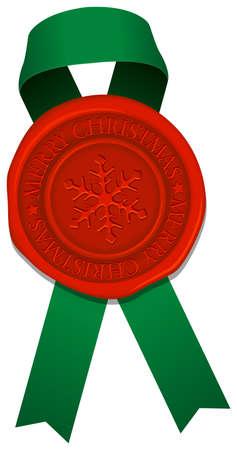 Sealing wax & ribbon (snowflake mark) vector illustration