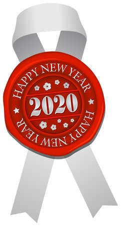 2020 sealing wax & ribbon vector illustration / Happy new year
