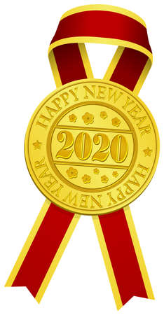 Gold medal & ribbon for 2020 new year greeting ornaments vector illustration  イラスト・ベクター素材