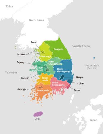 Mapa de las divisiones administrativas de corea del sur / español Ilustración de vector
