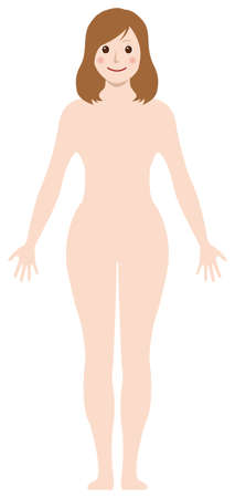 Smiling Naked Woman /Nude Body , Silhouette , outline shape vector illustration