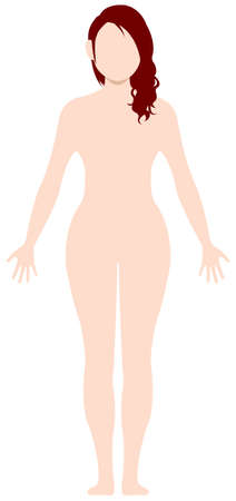 Faceless naked woman nude body , silhouette , outline shape vector illustration  Caucasian (american,european etc.) Illusztráció