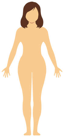 Faceless naked woman nude body , silhouette , outline shape vector illustration Asian (Japanese, Chinese, Korean etc.)
