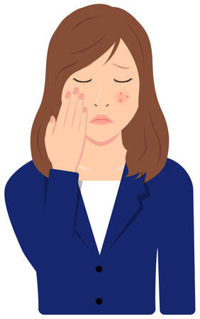 Young Asian Business Woman Vector Illustration (upper body,waist up)  acne, pimple, treckles, rash 일러스트