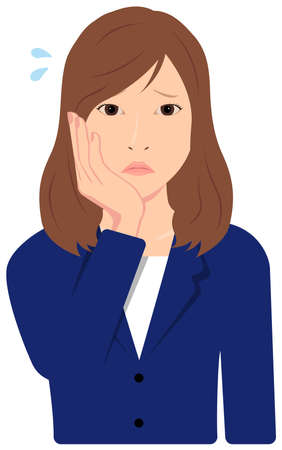 Young Asian Business Woman Vector Illustration (upper body, waist up) / depression,, troubled, Ilustración de vector