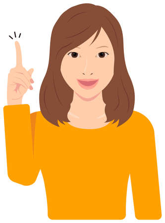 Young Asian Woman Vector Illustration (upper body,waist up) / idea,inspiration, good point, recommendation