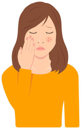 Young Asian Woman Vector Illustration (upper body,waist up)  acne, pimple, treckles, rash