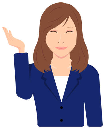 Young Asian Business Woman Vector Illustration (upper body,waist up)  guidance, introduction, recommendation
