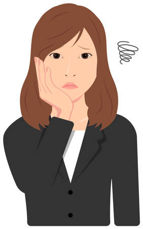 Young Asian Business Woman Vector Illustration (upper body, waist up)  depression,, troubled,