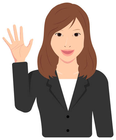 Young Asian Business Woman Vector Illustration (upper body,waist up)  open hand with smiling , good bye