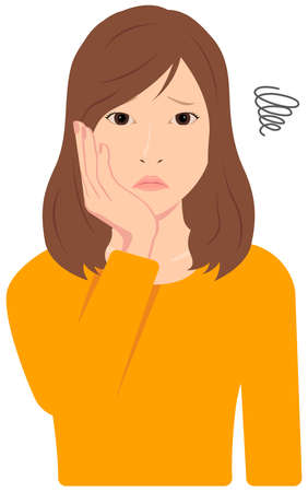 Young Asian Woman Vector Illustration (upper body, waist up) / depression, asof, troubled, Stock fotó - 134764500