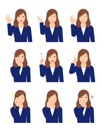 Young Asian Business Woman (upper body  waist up ) vector illustration set  hand gesture and face pattern variations.