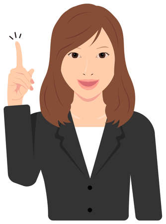 Young Asian Business Woman Vector Illustration (upper body,waist up)  idea,inspiration, good point, recommendation