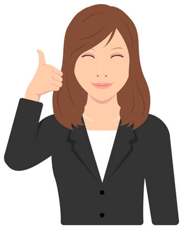 Young Asian Business Woman Vector Illustration (upper body,waist up)  thumb up with smiling Illusztráció
