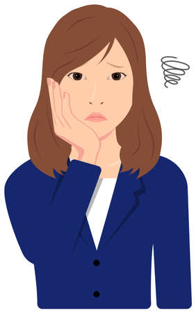 Young Asian Business Woman Vector Illustration (upper body, waist up) / depression,, troubled,