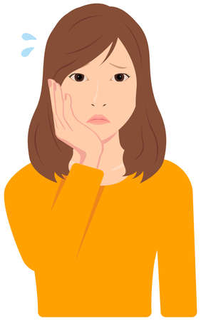 Young Asian Woman Vector Illustration (upper body, waist up)  depression, asof, troubled,