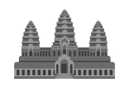 Angkor Wat - Cambodia  World Famous Buildings Vector Illustration. Иллюстрация