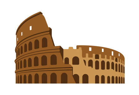 Colosseum - Italy, Rome / World Famous Buildings Vector Illustration.