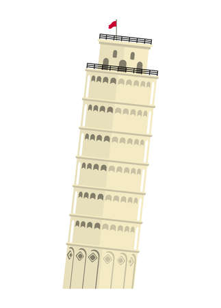 Leaning Tower of Pisa - Italy / World Famous Buildings Vector Illustration.