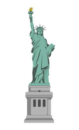 Estatua de la libertad - Estados Unidos, Nueva York / Ilustración de Vector de edificios de fama mundial. Ilustración de vector