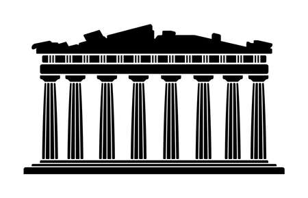 Parthenon Temple - Greece / World Famous Buildings Monochrome Vector Illustration.