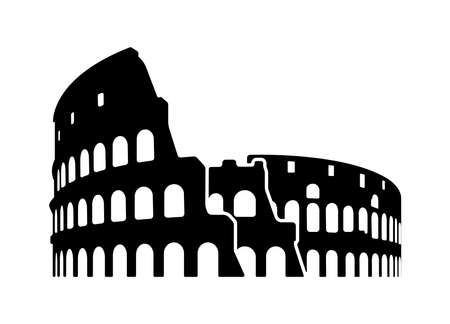 Colosseum - Italy, Rome / World Famous Buildings Monochrome Vector Illustration.