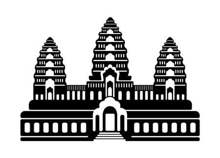 Angkor Wat - Cambodia  World Famous Buildings Monochrome Vector Illustration.