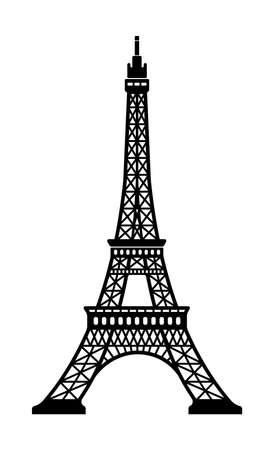 Torre Eiffel - Francia, Parigi /World Famous Building monocromi illustrazione vettoriale. Vettoriali