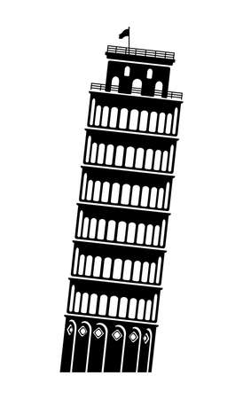 Leaning Tower of Pisa - Italy / World Famous Buildings Vector Monochrome Illustration.