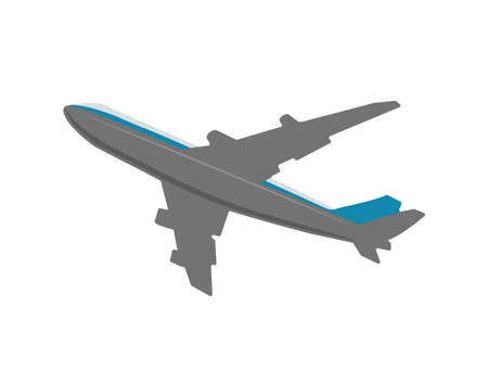 Airplane Seen from Below Flat Vector Illustration ( travel, transportation ) 向量圖像