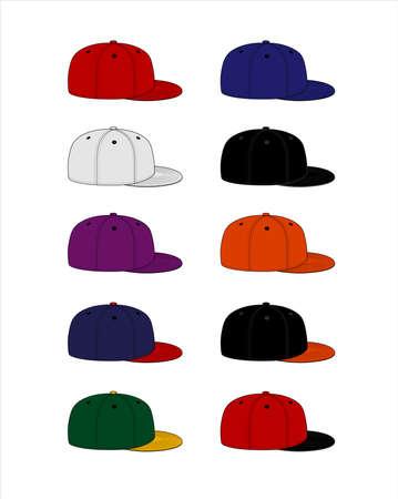 Baseball cap template vector illustration set / side views